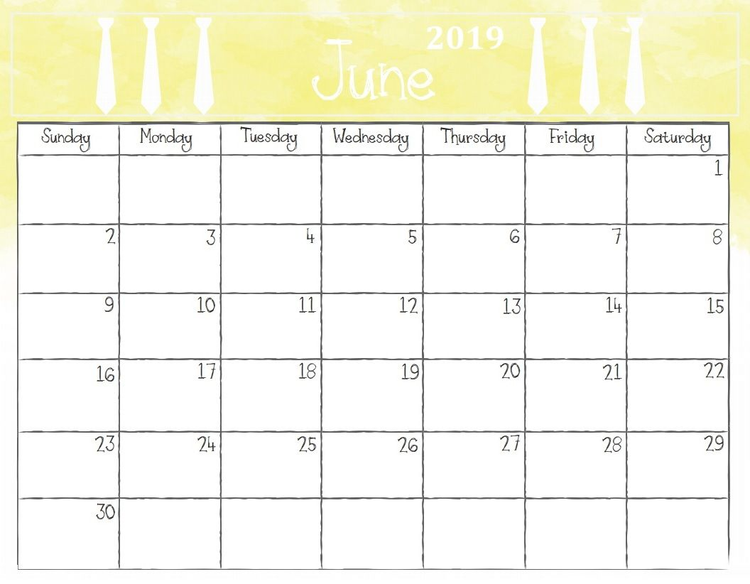 photo relating to Free Printable June Calendar referred to as June Calendar 2019 PDF - No cost Printable Calendar Templates