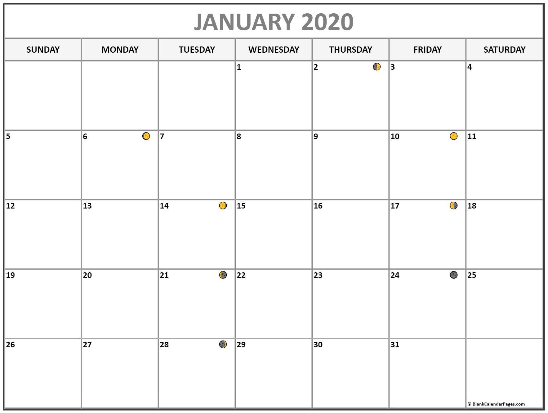 Lunar Calendar January 2020