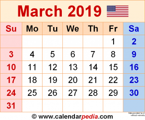 March 2019 Calendar Word Doc