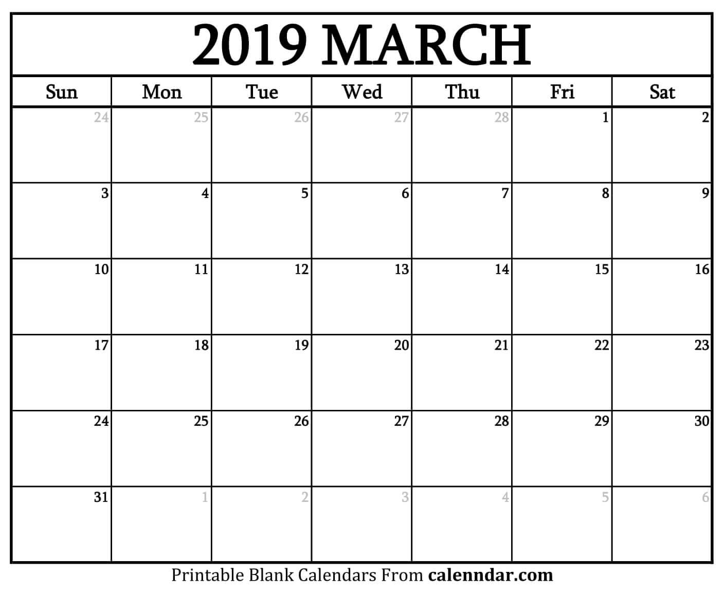 March 2019 Printable Blank Calendar