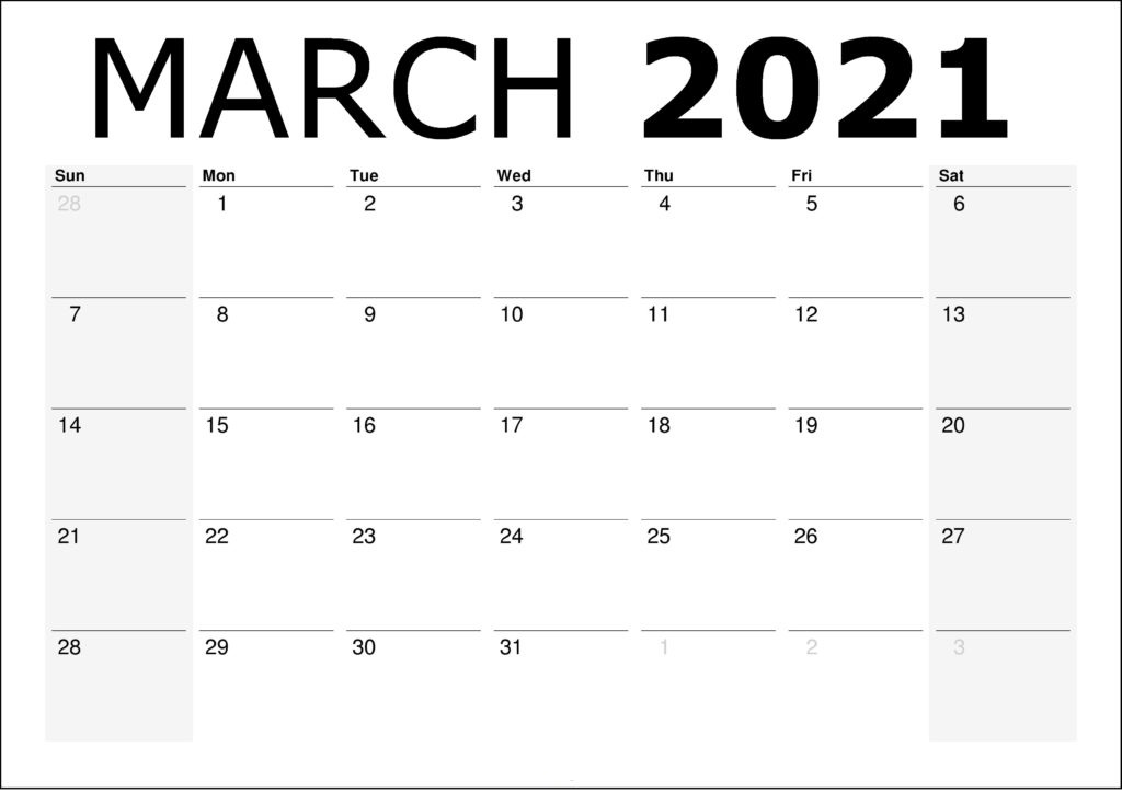 March 2021 Calendar PDF, Excel, Word Templates