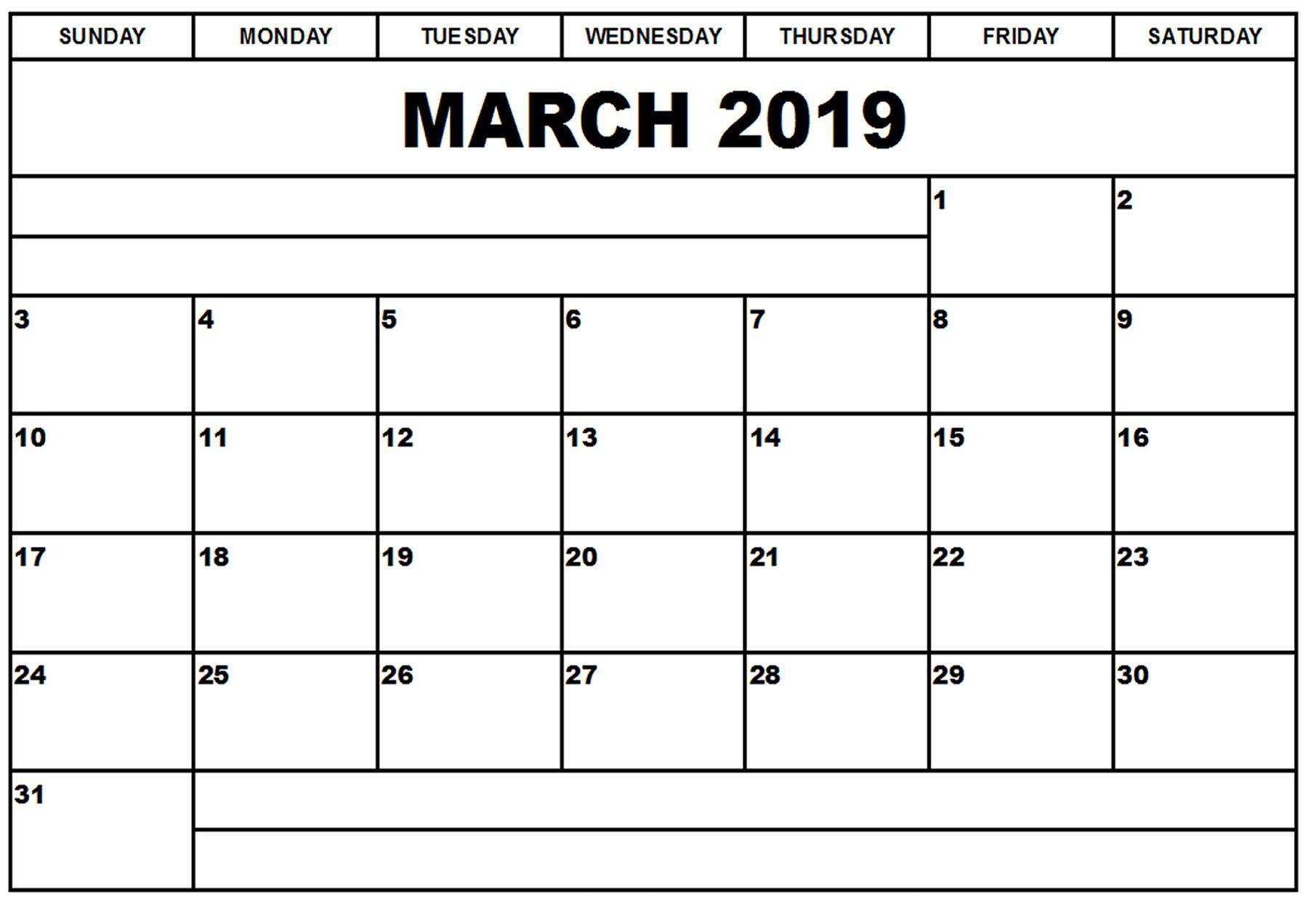 March Blank Calendar 2019