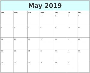 May 2019 Calendar Free Printable