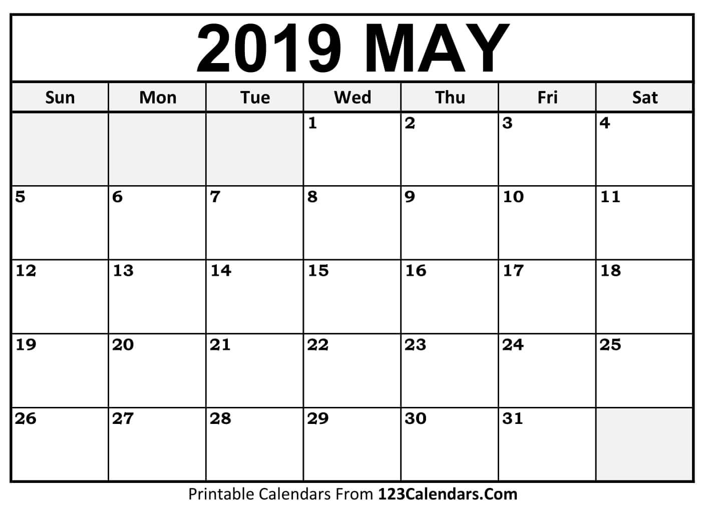 picture regarding Printable May Calendars named Could 2019 Calendar - No cost Printable Calendar Templates Blank