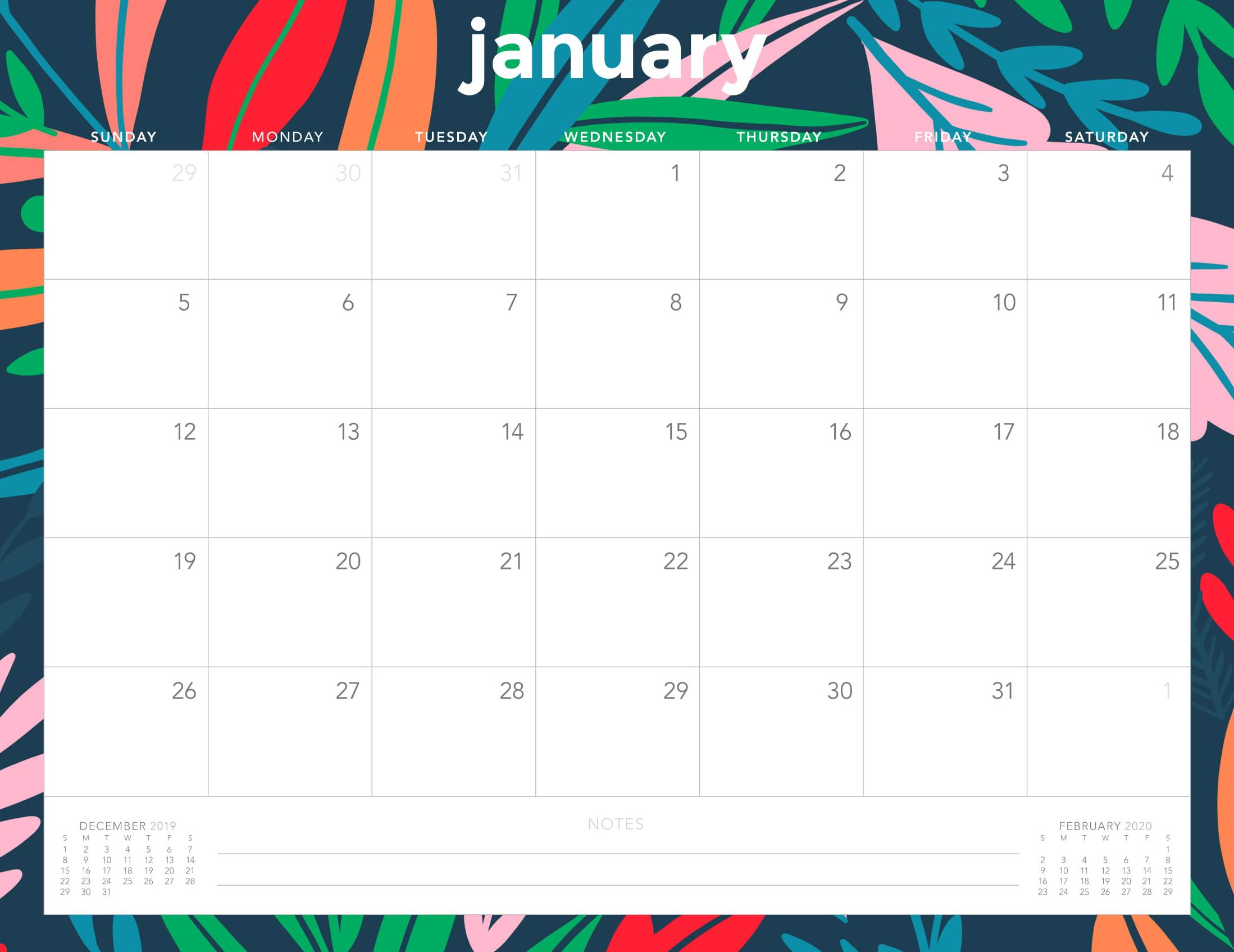 Monthly Desk Calendar January 2020