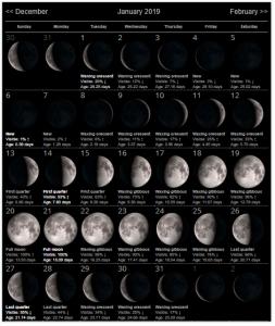 Moon Phases January 2019 Calendar