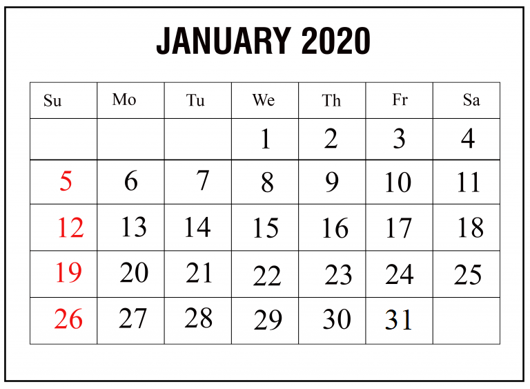 Print January 2020 Monthly Calendar PDF