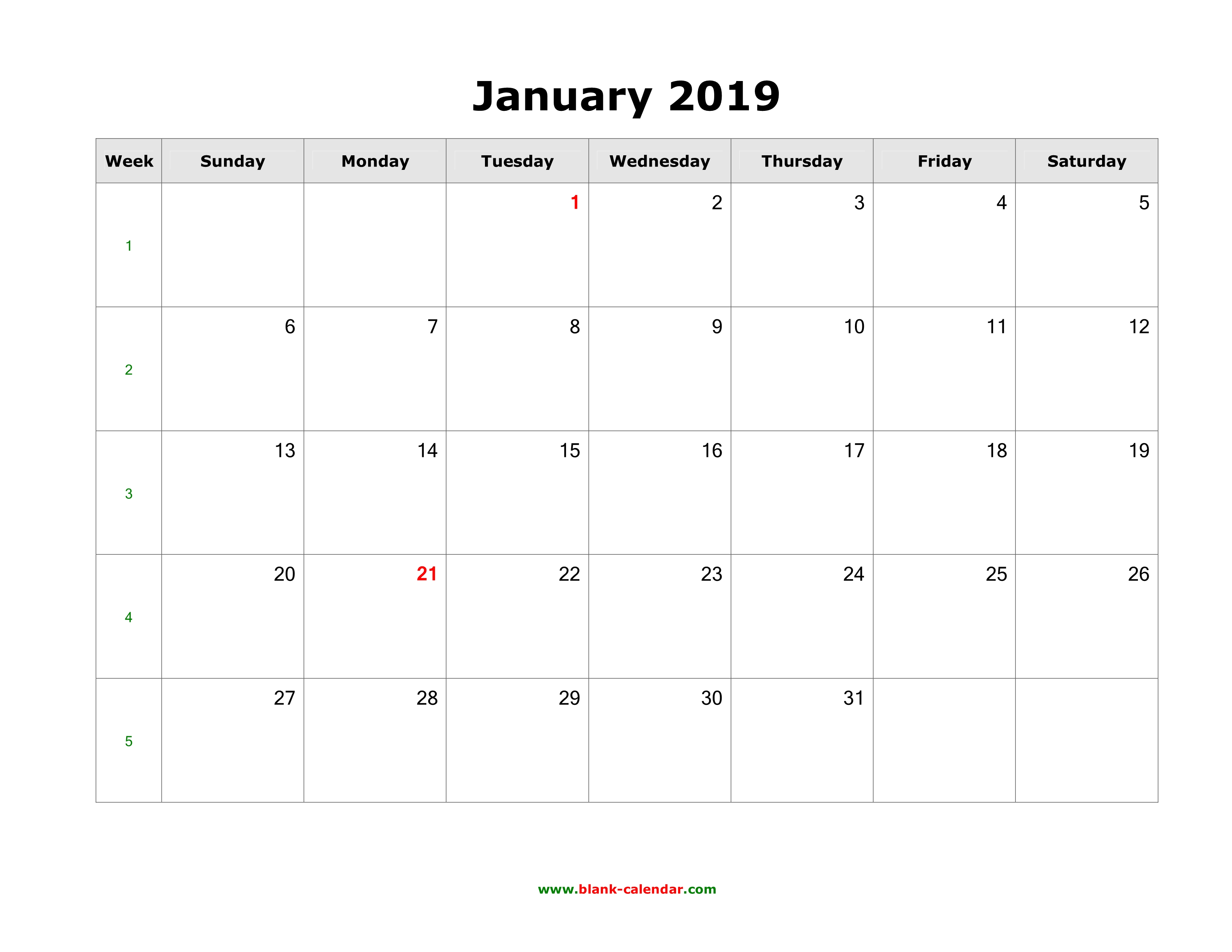Printable 2019 January Calendar