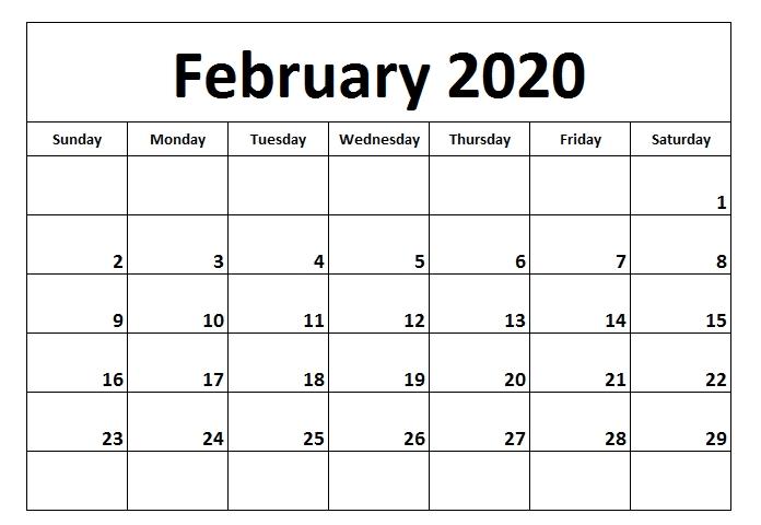 Printable Blank Calendar February 2020