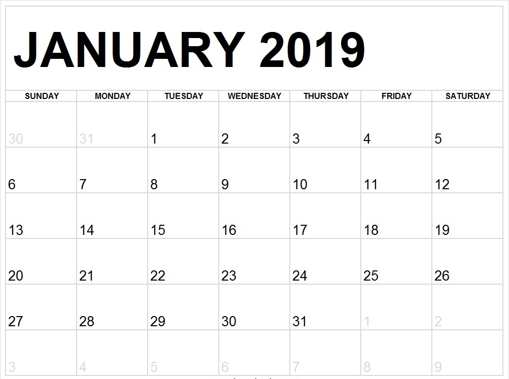 January 2019 Calendar Full Page to Print