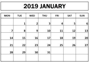 Printable January 2019 Calendar Monday Start