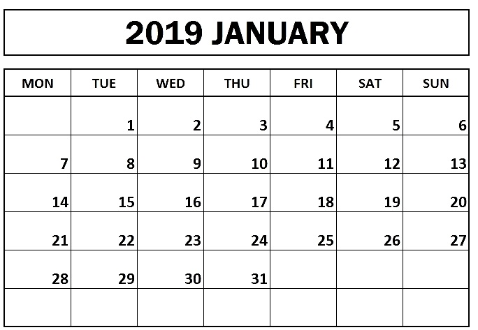 Printable January 2019 Calendar Monday Start