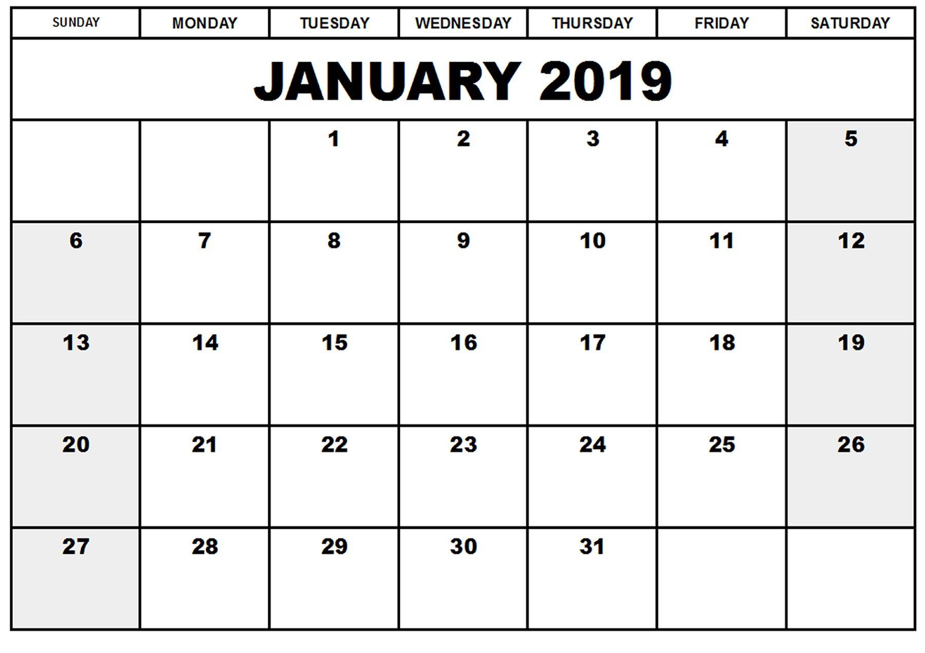 Printable Calendar January 2019