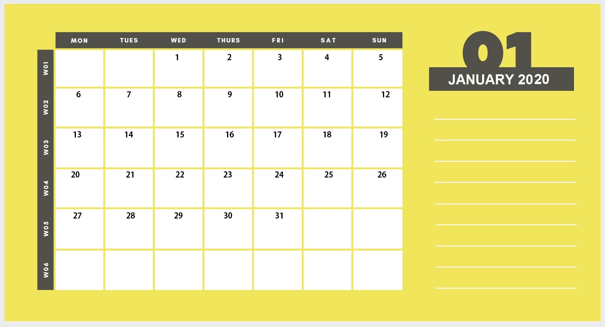 Printable Calendar January 2020 Cute