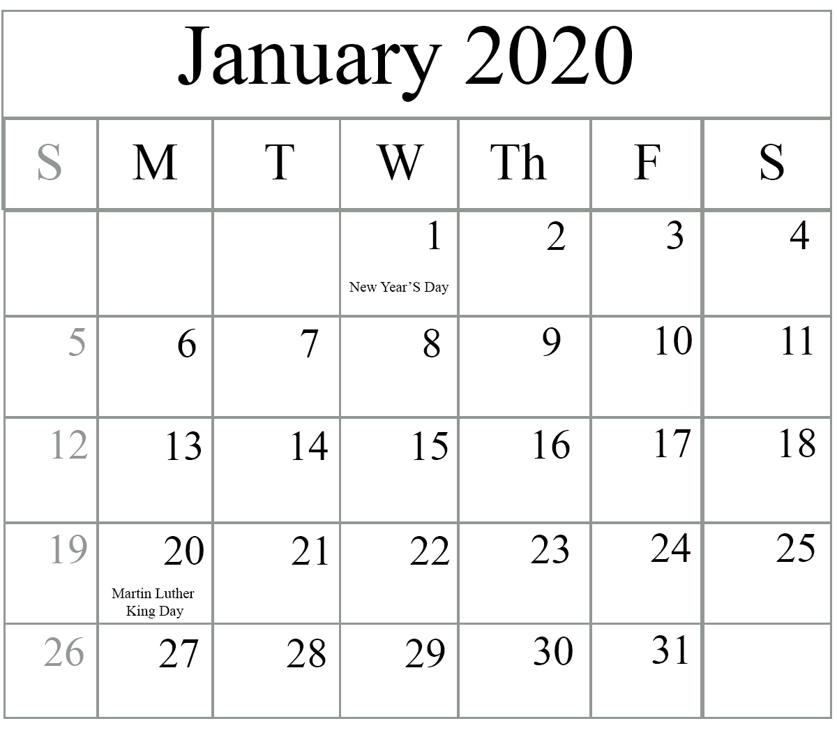 Printable Calendar January 2020 With Holidays