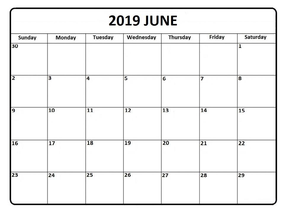 Printable Editable June 2019 Calendar