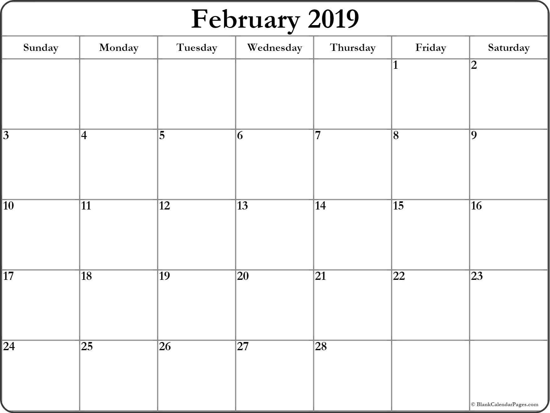 Printable February 2019 Blank Calendar