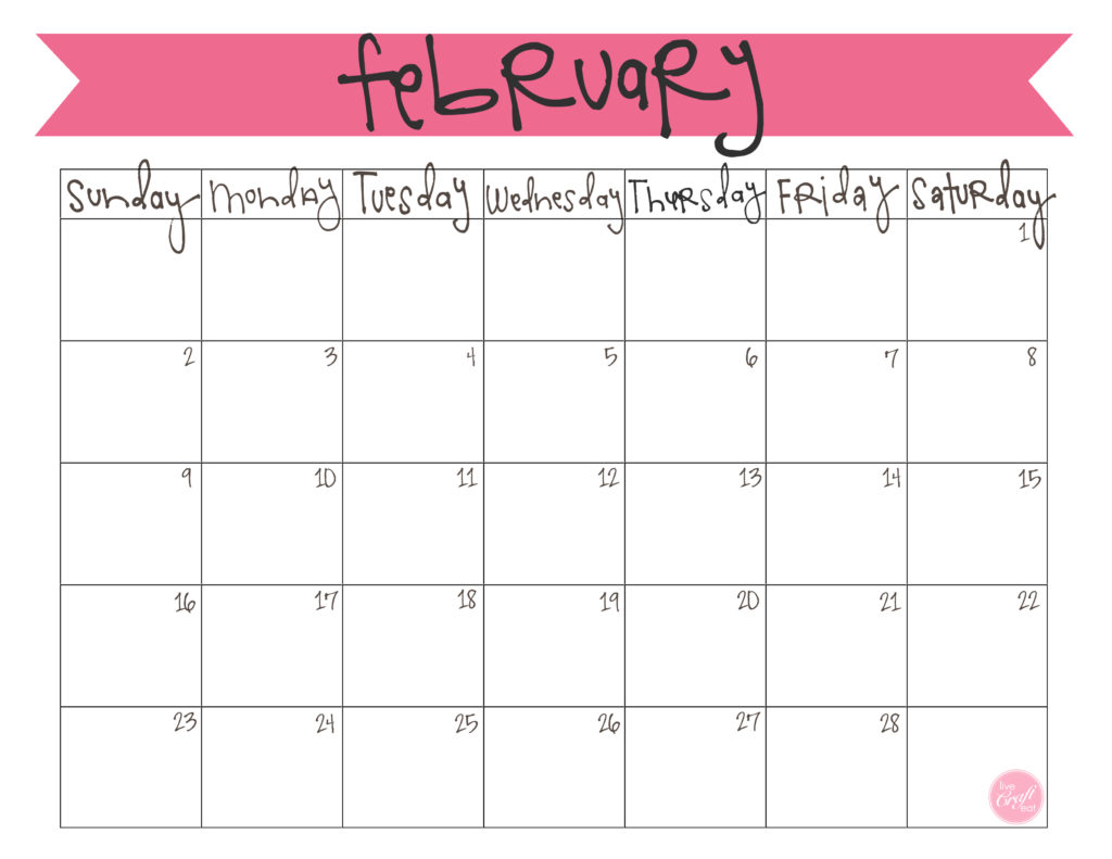 Printable February 2019 Calendar Blank