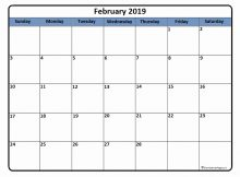 Printable February 2019 Calendar Download