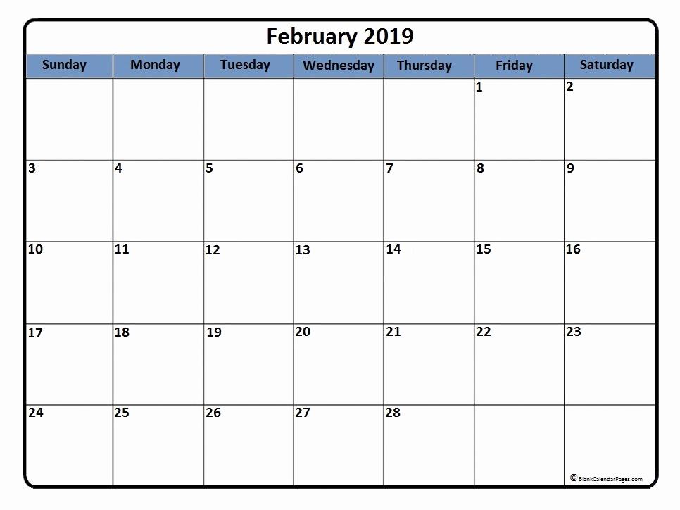 Printable February 2019 Calendar Download