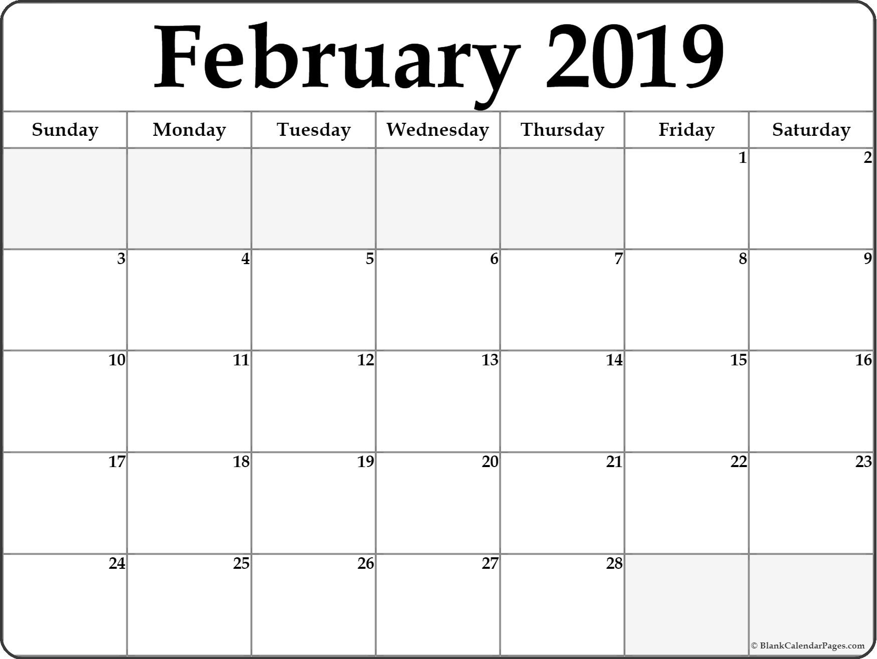 Printable February 2019 Editable Calendar