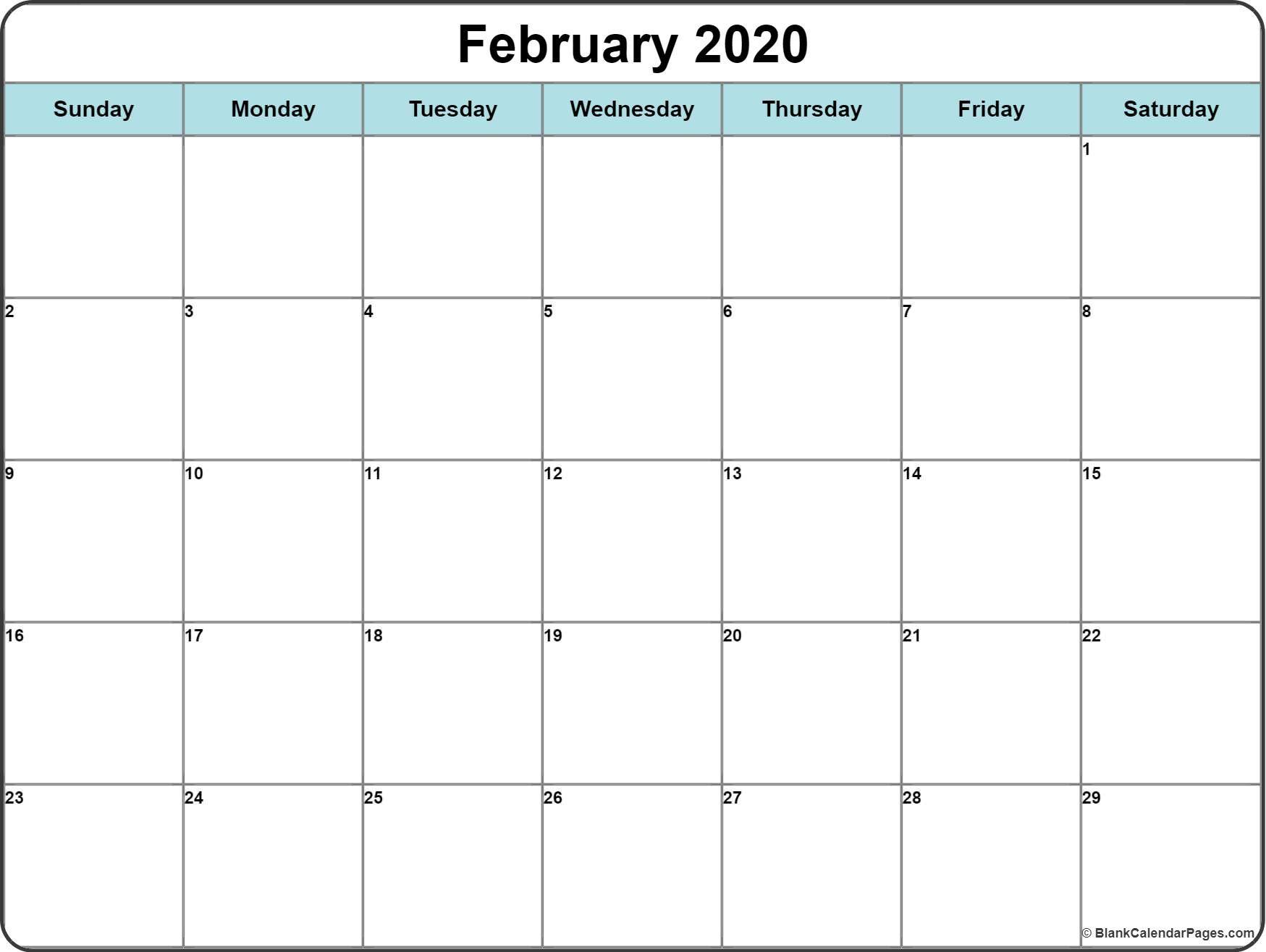 Printable February 2020 Calendar Blank