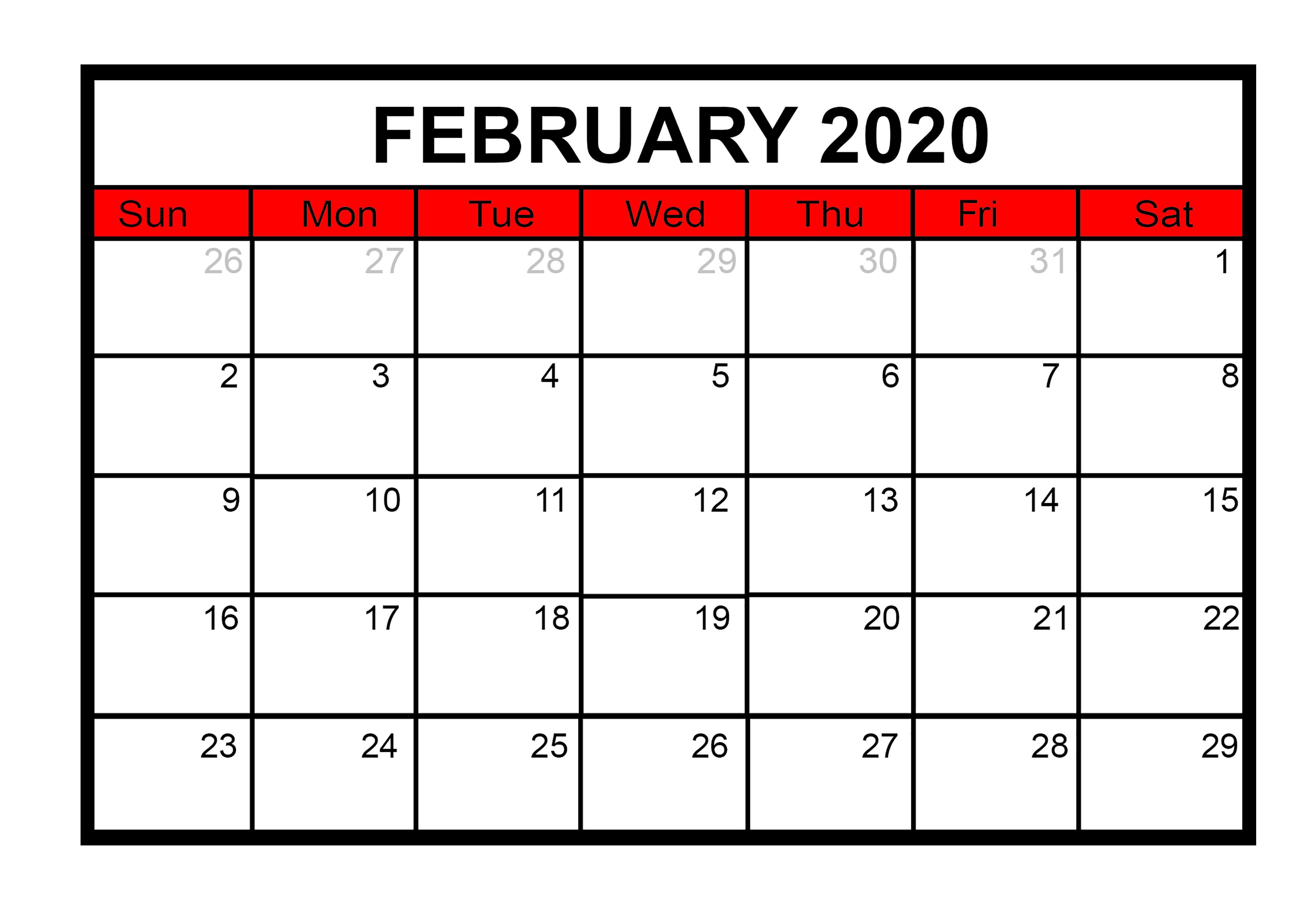 Printable February 2020 Calendar Template