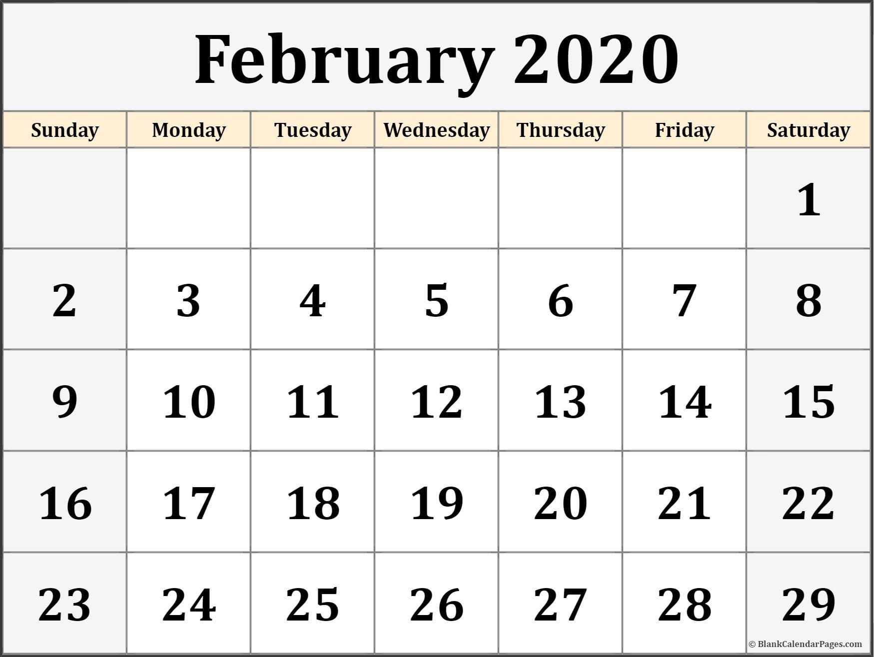 Printable Monthly February 2020 calendar