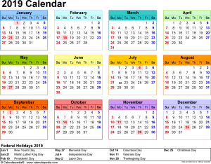 Public Holidays 2019 Calendar