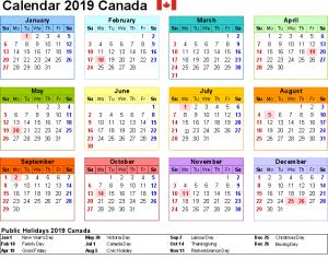 Public Holidays 2019 Canada
