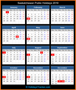 Public Holidays 2019 for Canada