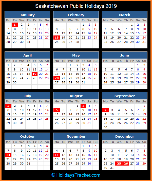 Public Holidays 2019 for Canada
