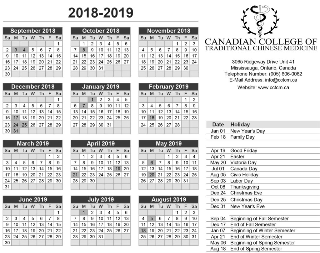 School Holidays 2019 in Canada