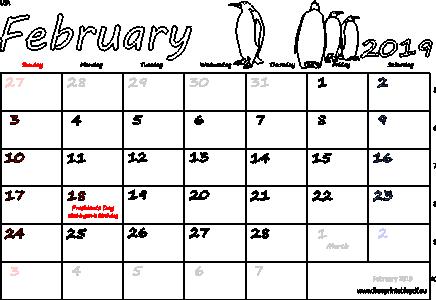 US Holidays Calendar for February 2019
