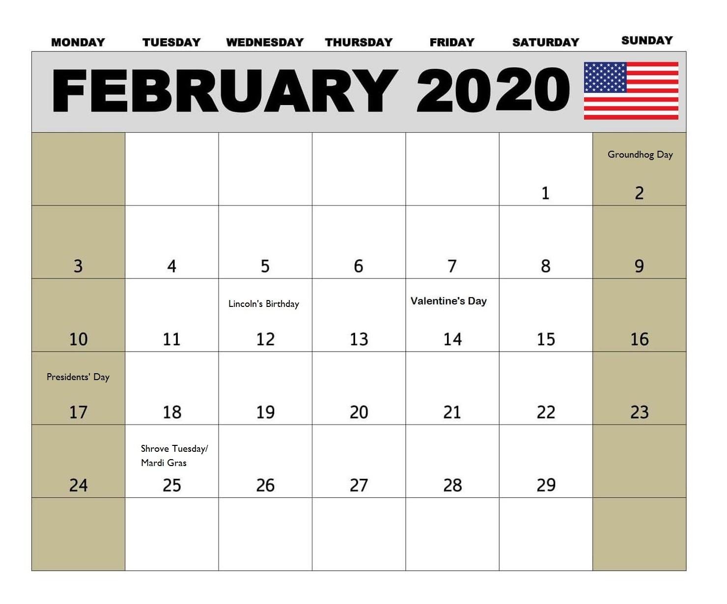 USA February 2020 Federal Holidays Calendar