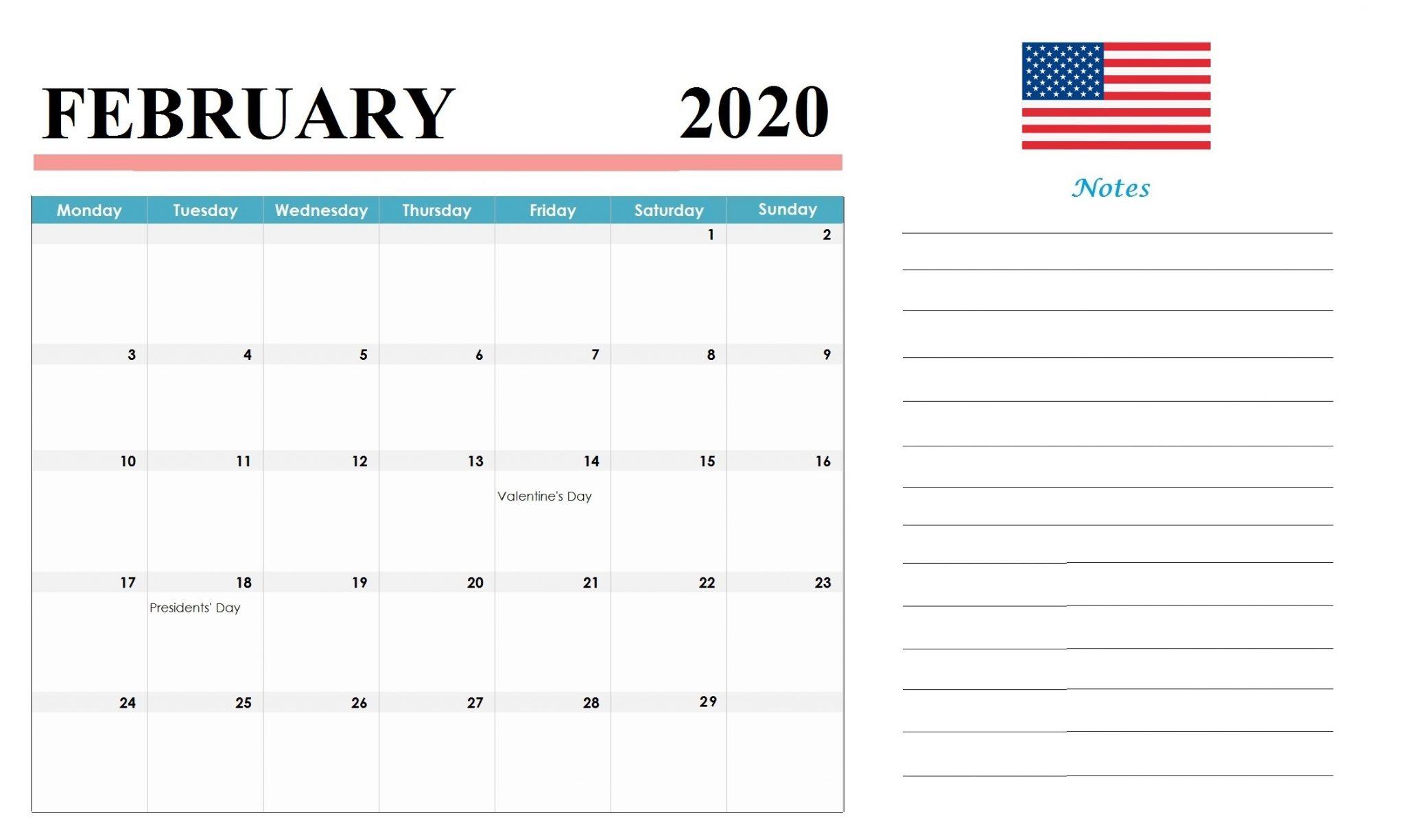 United States February 2020 Holidays Calendar