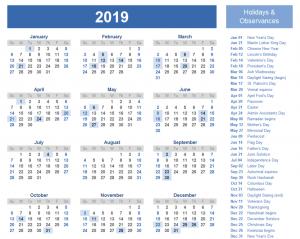 Yearly Editable Bank Holidays Calendar UK