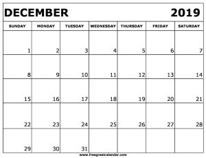 2019 Calendar December