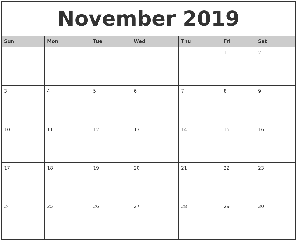 image relating to Printable November Calendar Pdf called November 2019 Calendar PDF Term Excel Templates