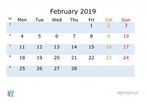 2019 February Calendar To Do List