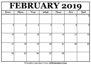 2019 February Calendar Word
