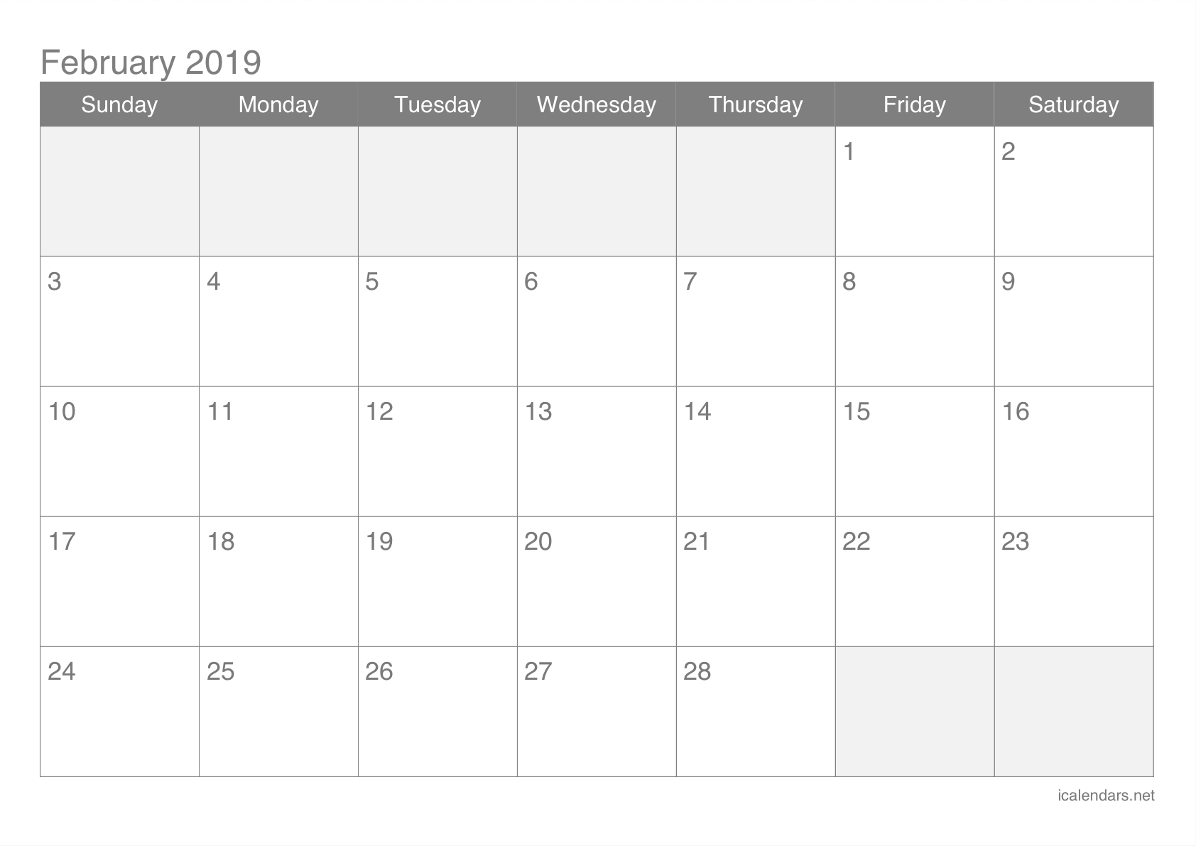2019 February Printable Calendar