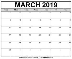 2019 March Calendar