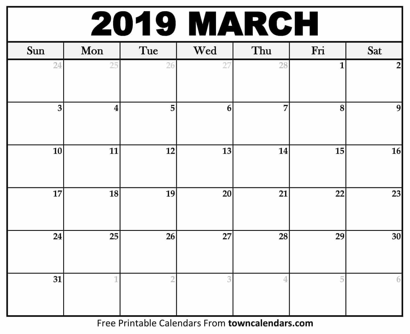 2019 March Calendar PDF