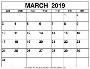 2019 March Calendar Printable
