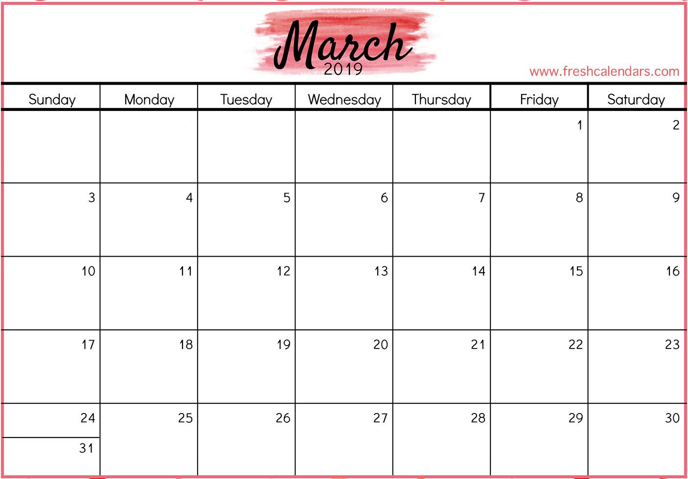 2019 March Printable Calendar