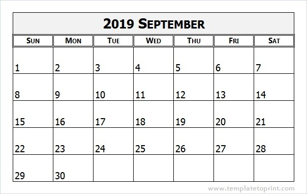 image relating to Printable Calendar Pdf named September 2019 Calendar PDF Printable Templates