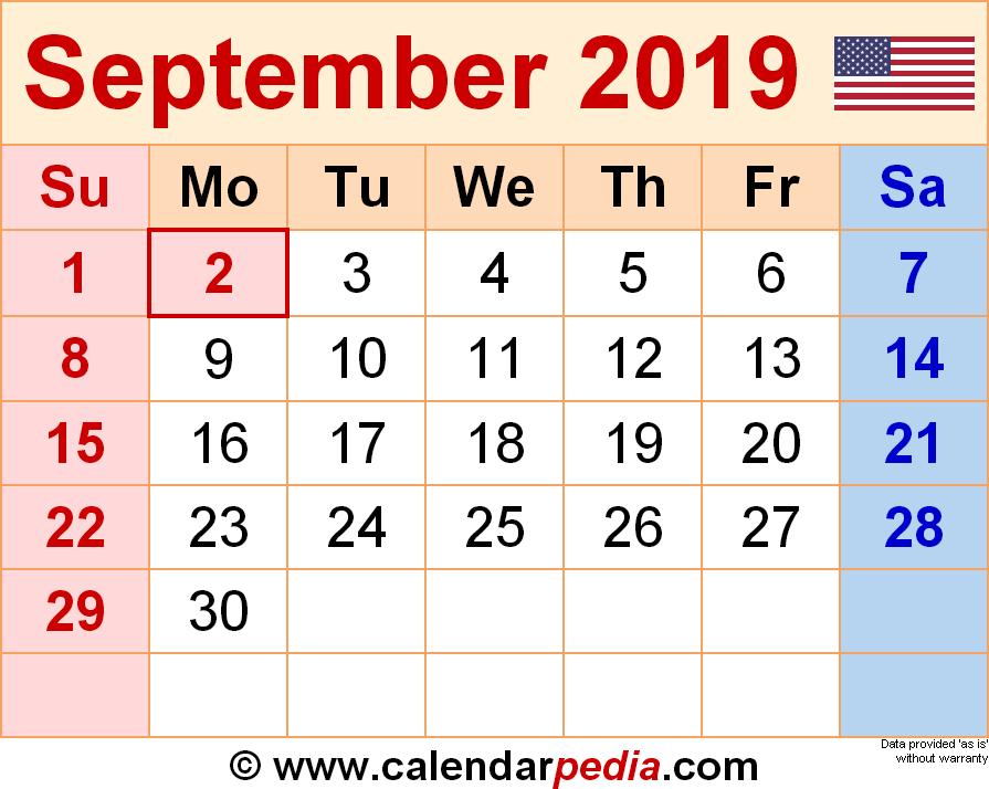 2019 September Calendar