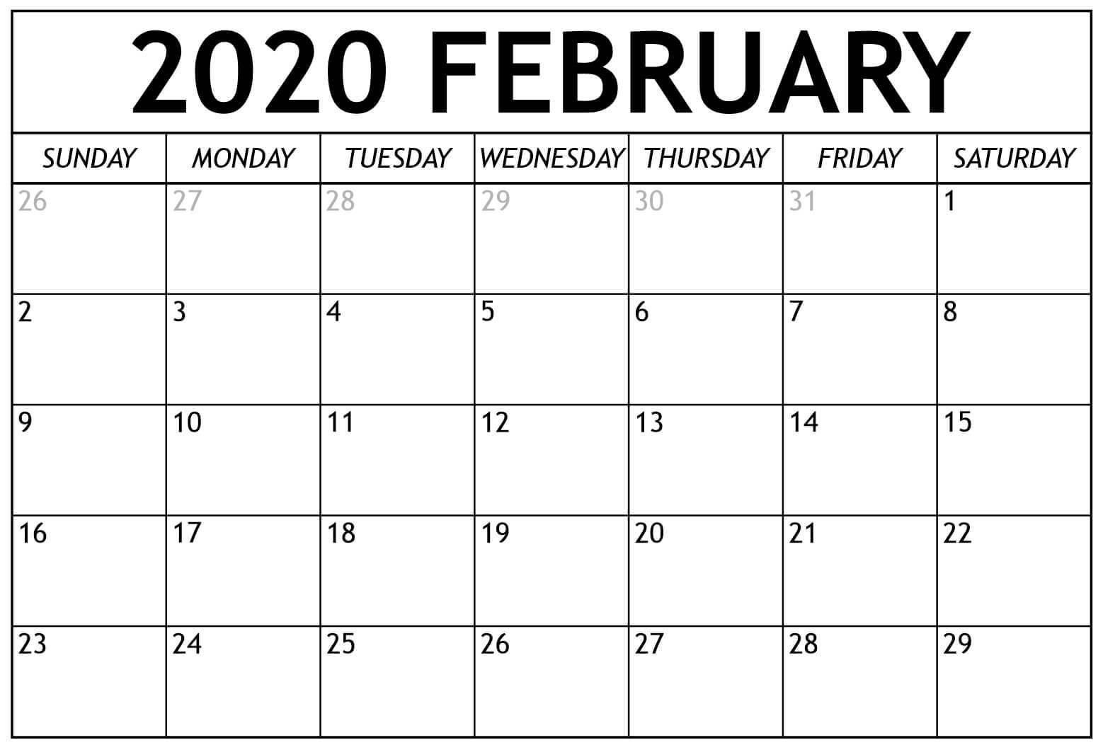 2020 Feb Printable Calendar Free