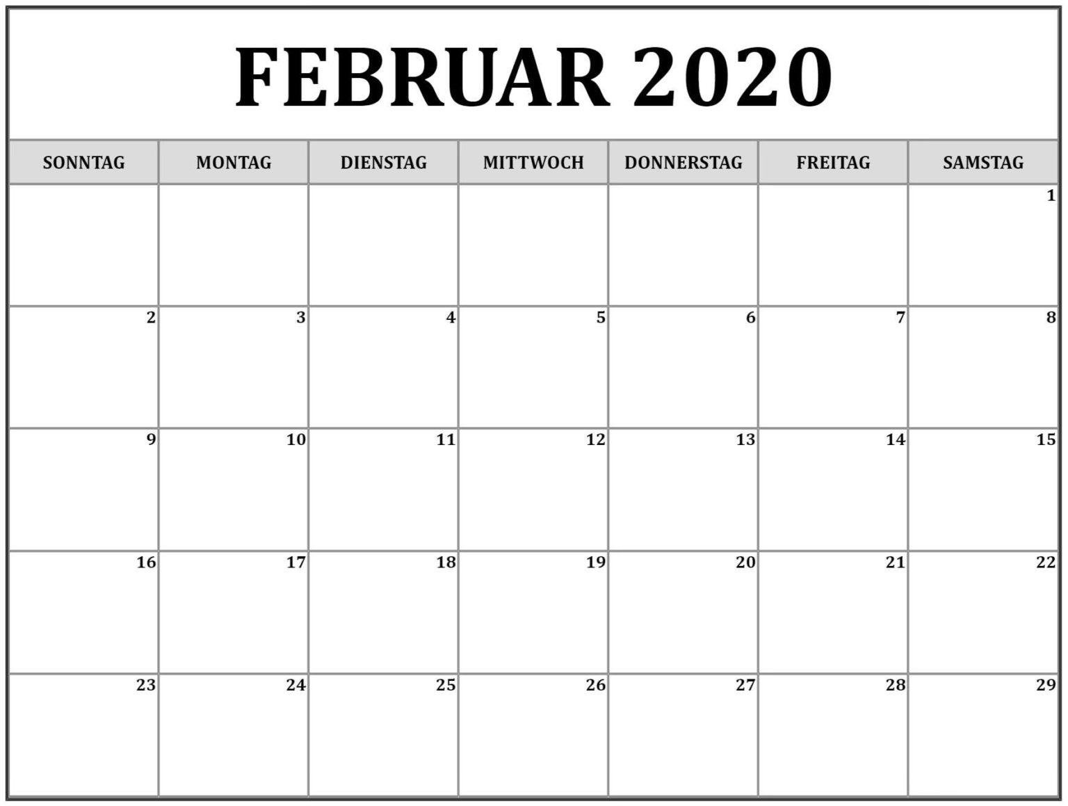 2020 Februar Kalendar